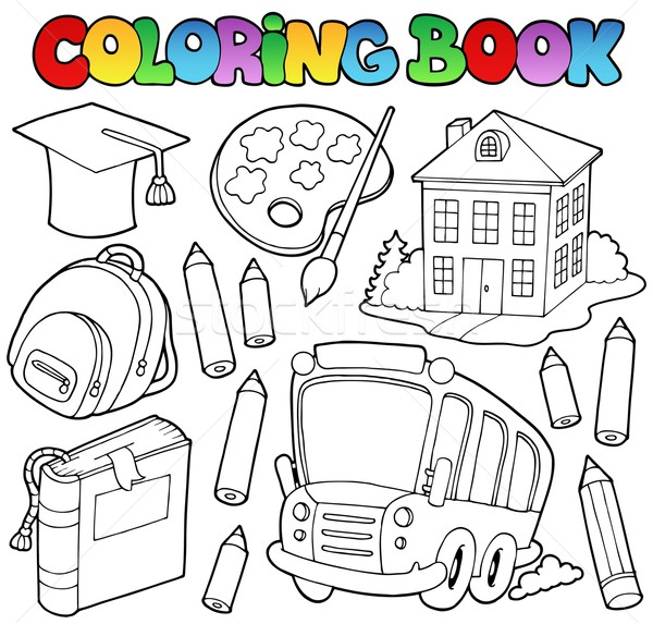 Coloring book school cartoons 9 Stock photo © clairev