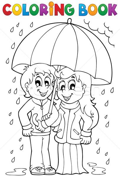 塗り絵の本 雨の 天気 少女 笑顔 図書 ストックフォト © clairev