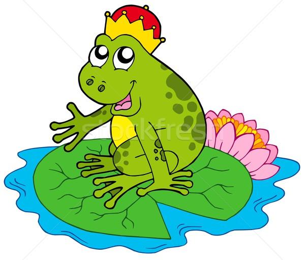 Rana príncipe agua Lily hoja verde Foto stock © clairev