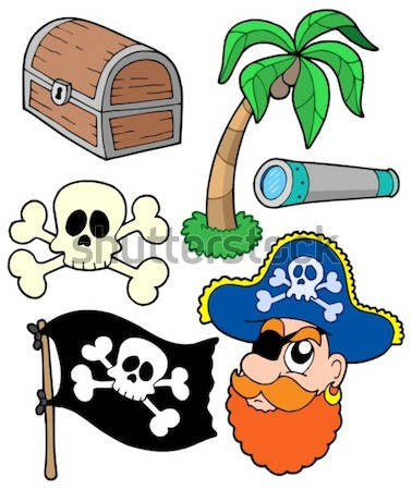 Pirata colección fuego ojo bandera barco Foto stock © clairev