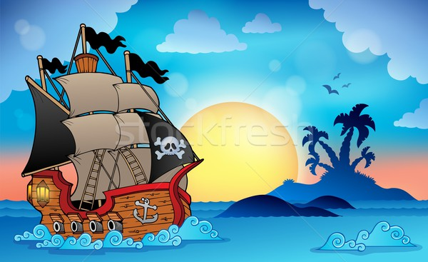 Pirate ship near small island 3 Stock photo © clairev