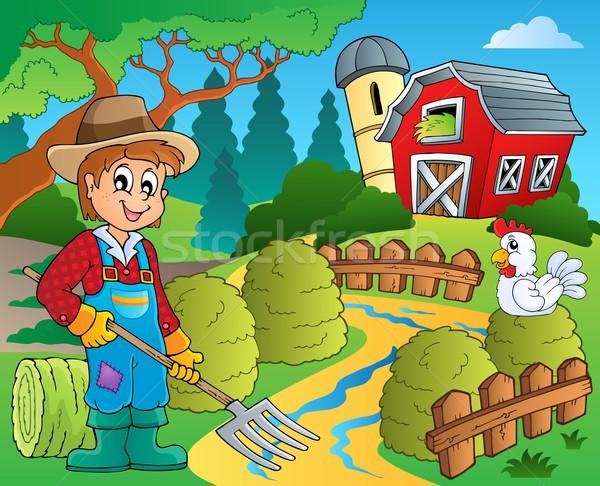çiftlik kırmızı ahır Bina mutlu sanat Stok fotoğraf © clairev