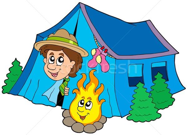 Escoteiro camping tenda sorrir crianças natureza Foto stock © clairev