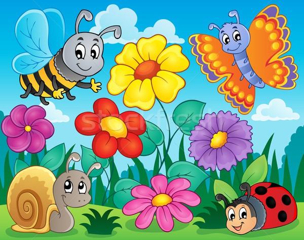 Kwiat temat obraz kwiaty szczęśliwy charakter Zdjęcia stock © clairev