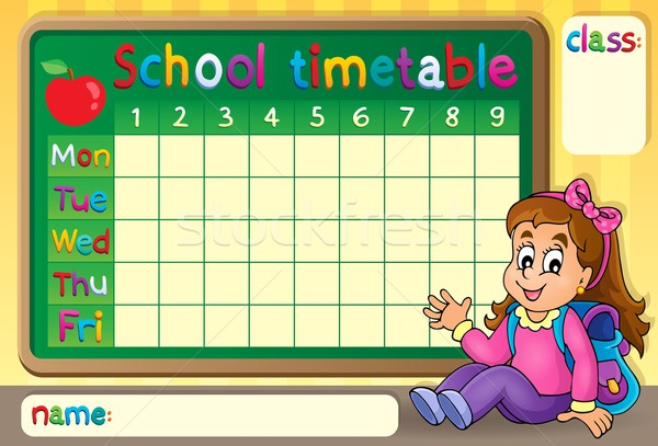 School dienstregeling gelukkig meisje kind kunst tabel Stockfoto © clairev