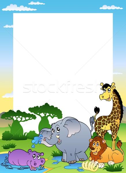 Stockfoto: Frame · vier · afrikaanse · dieren · gras · kat
