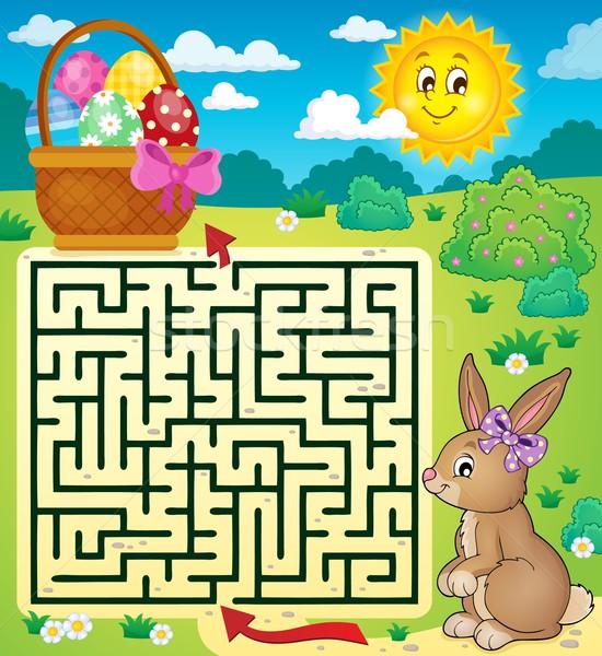 Labirintus húsvéti nyuszi kosárnyi tojás tojás művészet nyuszi Stock fotó © clairev