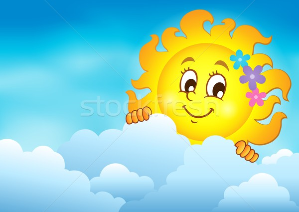 Stock photo: Cloudy sky with lurking sun 7