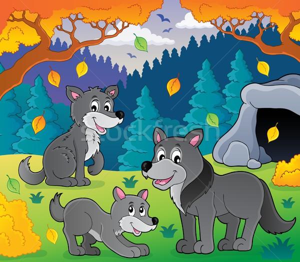 Lobos imagem madeira folha arte cães Foto stock © clairev