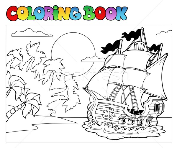 Coloring book with pirate scene 2 Stock photo © clairev