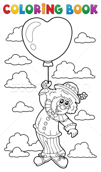 Boyama Kitabi Palyaco Balon Kitap Mutlu Bulut Vektor