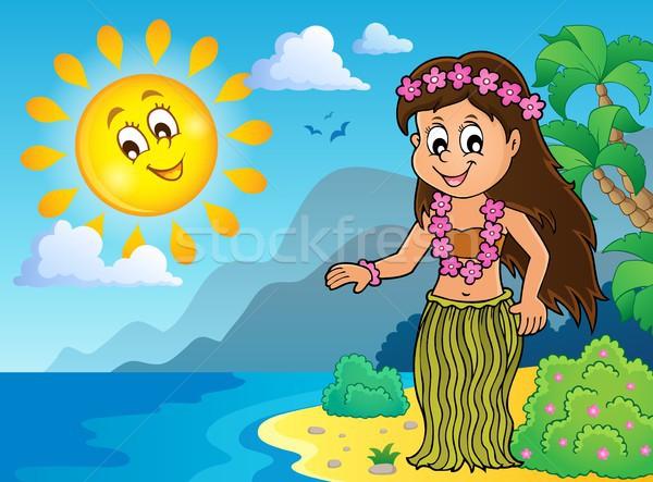Stock fotó: Táncos · kép · virág · víz · lány · boldog
