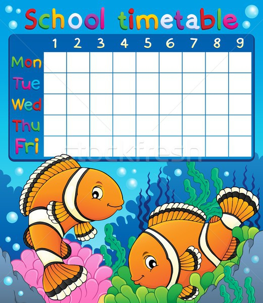 School timetable with clownfish theme Stock photo © clairev