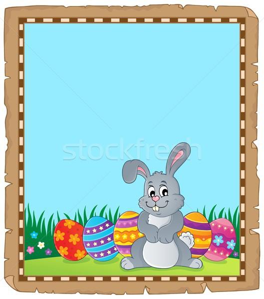 Pergamin Easter bunny temat papieru szczęśliwy królik Zdjęcia stock © clairev