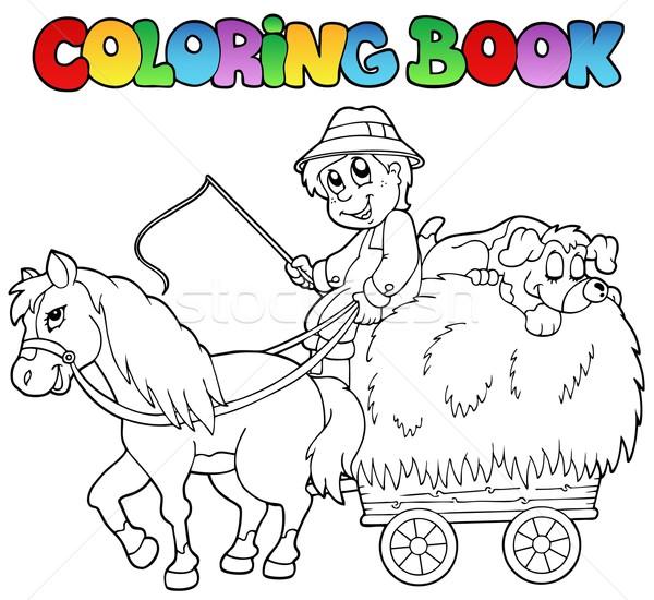 Boyama Kitabı Araba çiftçi Kitap Adam At Vektör