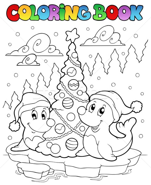 Coloring book two seals with tree Stock photo © clairev