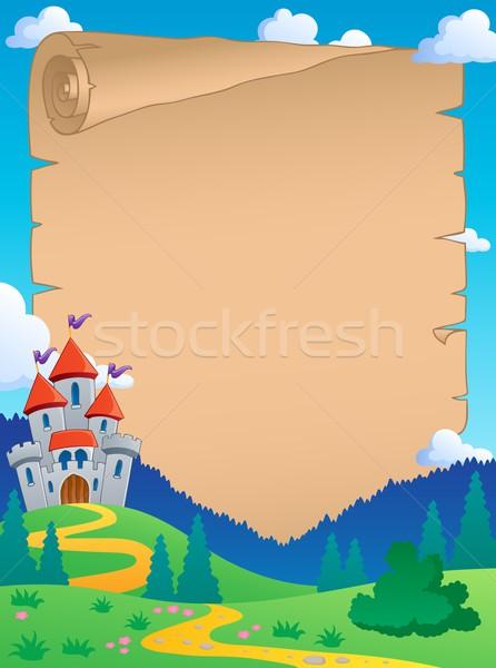 Cuento de hadas pergamino papel casa edificio arte Foto stock © clairev