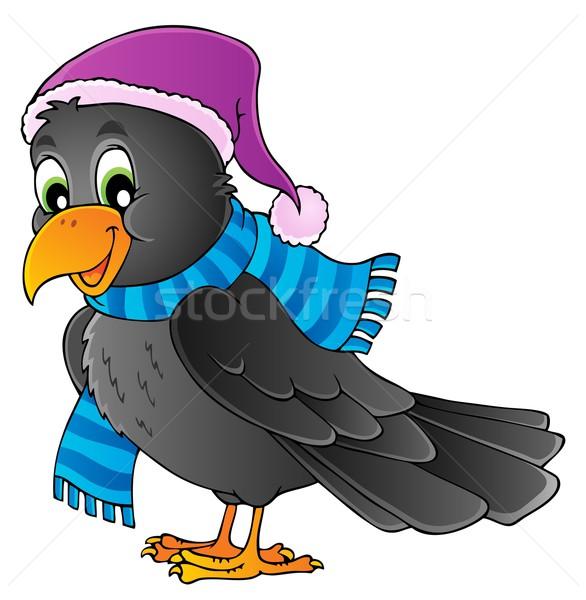 Cartoon raaf afbeelding gelukkig kunst winter Stockfoto © clairev