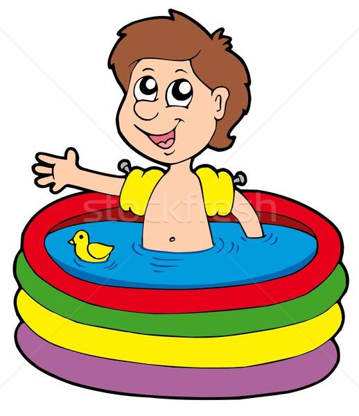 Erkek şişme havuz çocuklar yüz çocuk Stok fotoğraf © clairev
