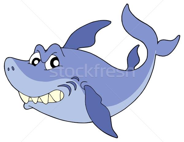 Cute smiling shark vector illustration Stock photo © clairev