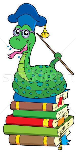 Slang leraar boeken onderwijs bril Stockfoto © clairev