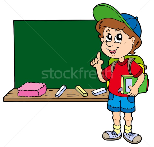 Advising school boy with blackboard Stock photo © clairev