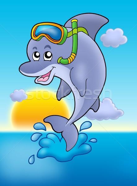дельфин трубка Diver закат цвета иллюстрация Сток-фото © clairev