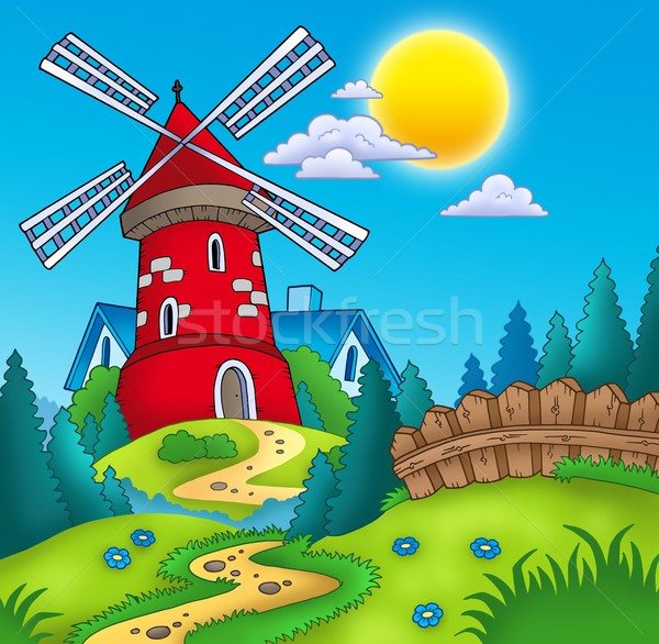 Pays paysage rouge moulin couleur illustration Photo stock © clairev