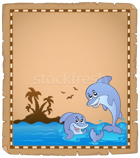 Pergamino dos delfines sonrisa palma océano Foto stock © clairev
