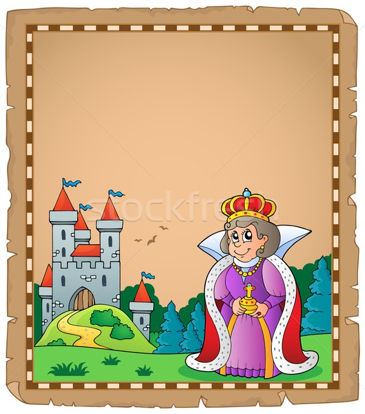 Parchment with queen near castle 1 Stock photo © clairev