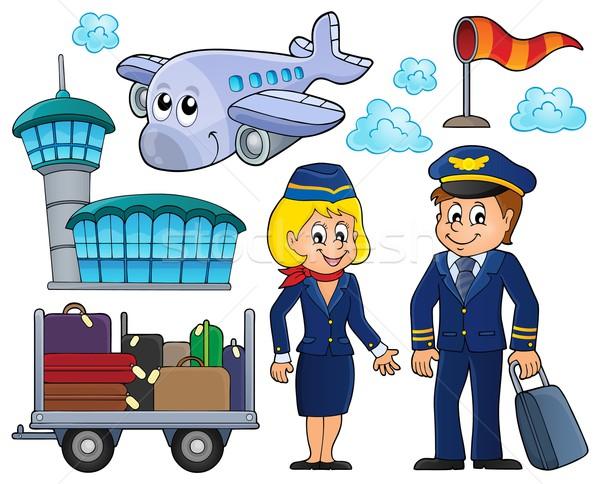Légi közlekedés szett nő mosoly épület férfi Stock fotó © clairev