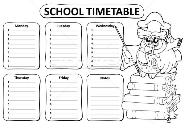 Black and white school timetable theme 9 Stock photo © clairev