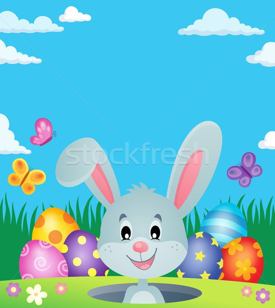 Easter eggs and lurking bunny theme 3 Stock photo © clairev