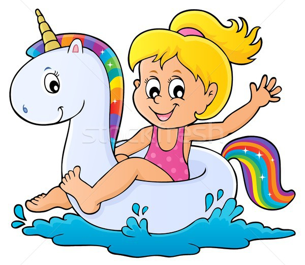Girl floating on inflatable unicorn 1 Stock photo © clairev