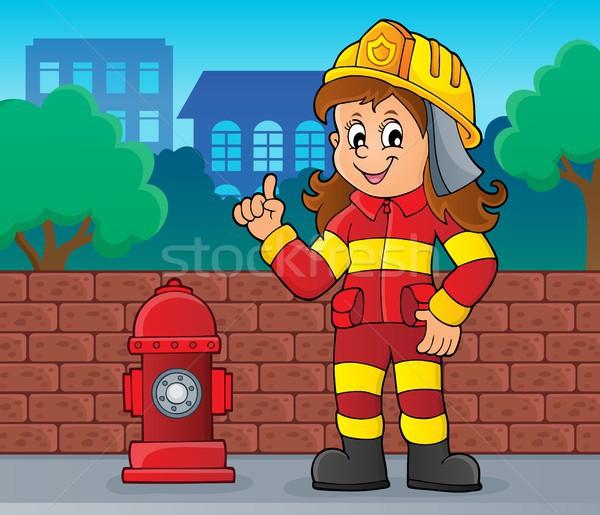 Brandweerman vrouw afbeelding muur straat kunst Stockfoto © clairev
