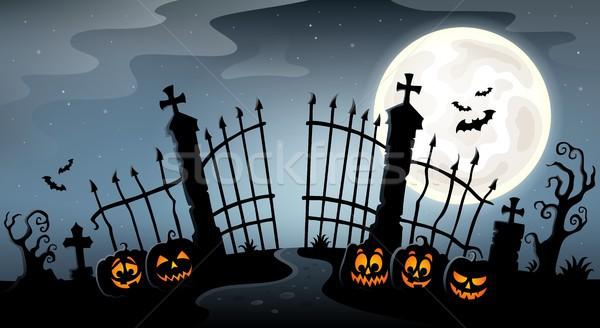 Cemitério portão silhueta cara arte outono Foto stock © clairev