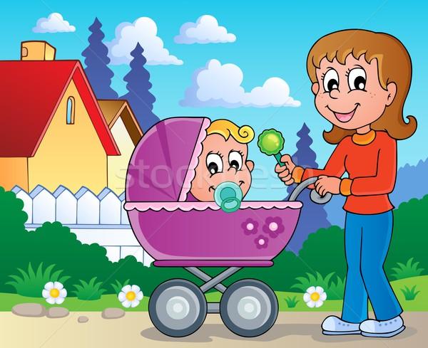 Kinderwagen afbeelding glimlach kind kunst moeder Stockfoto © clairev