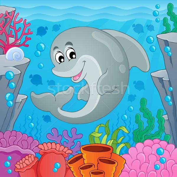 Obraz Delfin uśmiech ocean podwodne rysunek Zdjęcia stock © clairev
