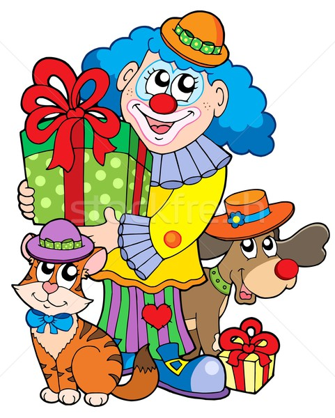 Party clown with cute animals Stock photo © clairev