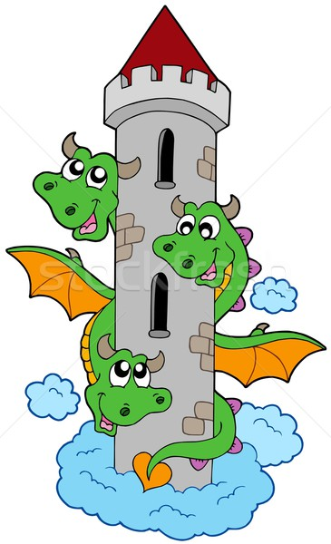 Three headed dragon with tower Stock photo © clairev