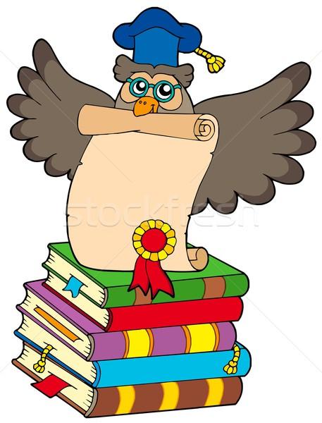 Judicieux chouette diplôme livres éducation verres Photo stock © clairev