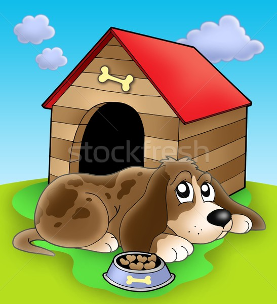 Dog resting in front of kennel Stock photo © clairev