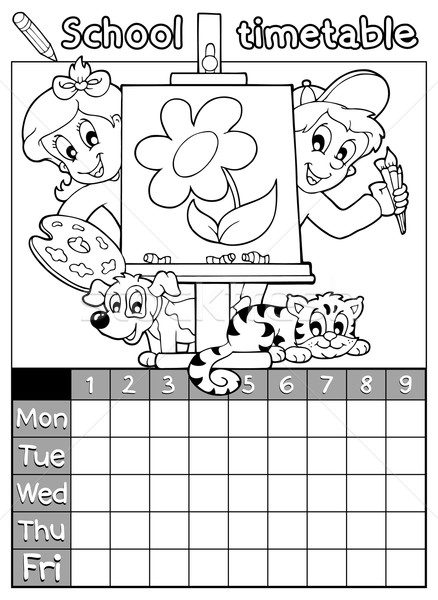 Coloring book timetable topic 1 Stock photo © clairev