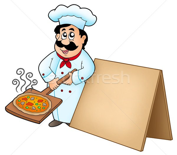 Chef with pizza plate and board Stock photo © clairev