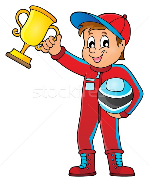 Car racer holding trophy theme image 1 Stock photo © clairev