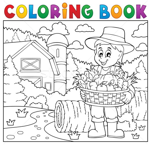 Coloring book farmer with harvest 2 Stock photo © clairev