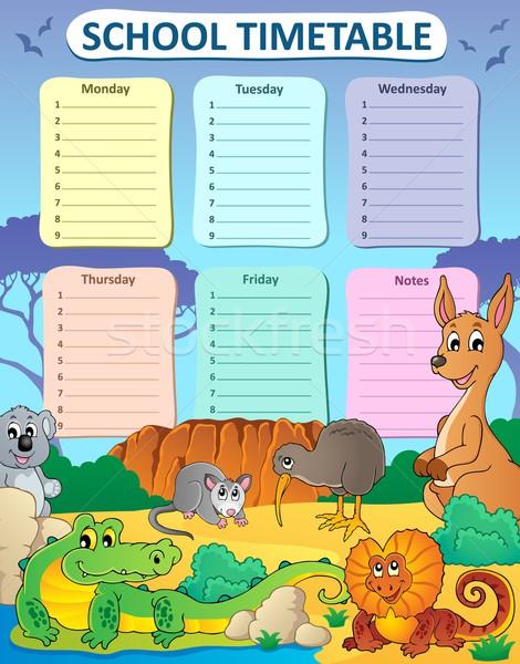 Hebdomadaire école calendrier art oiseau table Photo stock © clairev