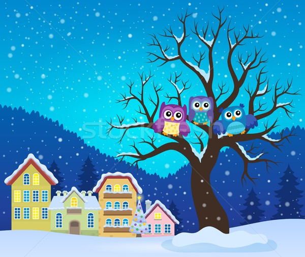 Stylized owls on tree theme image 3 Stock photo © clairev