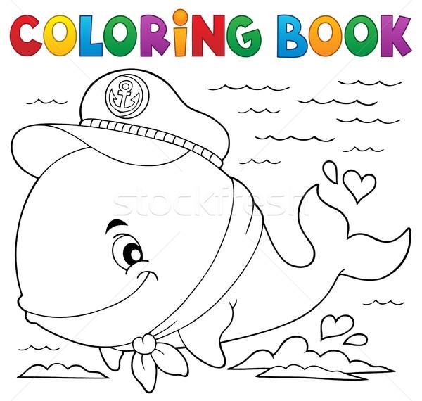 Boyama kitabı denizci balina gülümseme kitap deniz Stok fotoğraf © clairev
