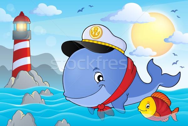 Marynarz wielorybów obraz wody uśmiech morza Zdjęcia stock © clairev